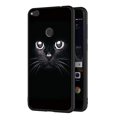 ZhuoFan Funda Huawei P8 Lite 2017 Cárcasa Silicona Ultrafina Negra con Dibujos Diseño Suave TPU Gel Antigolpes de Protector Piel Case Cover Bumper Fundas para Movil Huawei P8Lite, Gato Negro