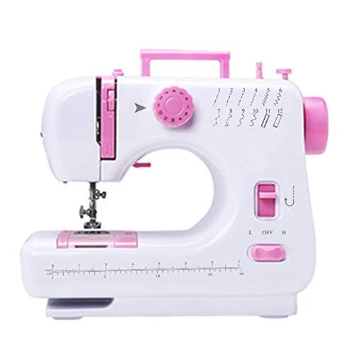 SEGIBUY Mini-naaimachine, elektrische draagbare naaimachine met dubbele snelheid, dubbele schroefdraad, voetpedaal en naaldbescherming voor huishoudreizen, voor beginners
