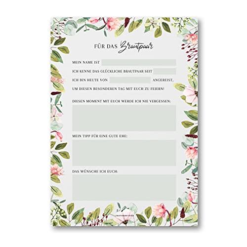 Hochzeitswünsche für das Brautpaar als Hochzeitsspiel für 50 Gäste im handlichen A5 Notizblock...