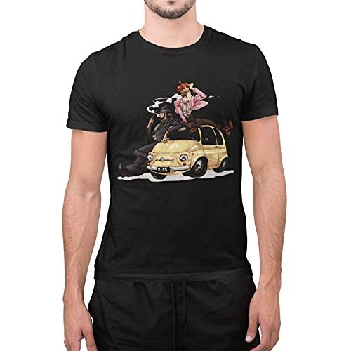 maglia lupin CHEMAGLIETTE! T-Shirt Divertente Uomo Maglietta con Stampa Simpatica Gighen Lupin Nero