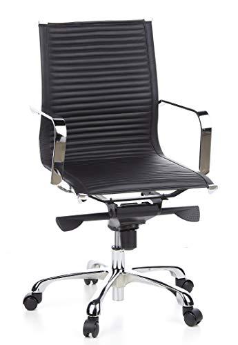 hjh OFFICE 660910 chaise de bureau, chaise bureau pivotante CREMONA 10 noir en cuir, siège coque avec accoudoirs, surpiqûres horizontales, design moderne et élégant, structure robuste en métal chromé