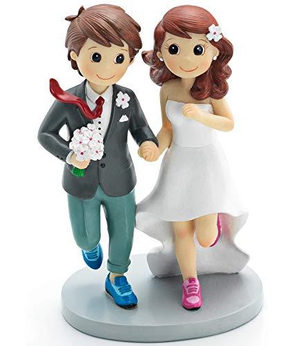 FIESTADEKOR Figura Pareja Novios Zapatillas para decoración de Tartas y Regalo 20cm.