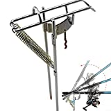 DEALPEAK Automatic Double Spring Fishing Rod Holders for Ground, Auto Tip Up Activated Hook Setter...