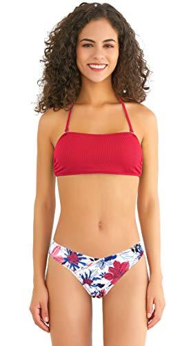SHEKINI Mujer Conjunto de Bikini Top de Tubo Dividido Traje de Baño Traje de Baño Estampado Ropa de Playa