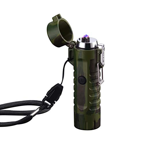 USB Rechargeable Dual Electric Arc Waterproof Lighter Windproof Flameless Cigarette Lighter with Spotlight Flashlight