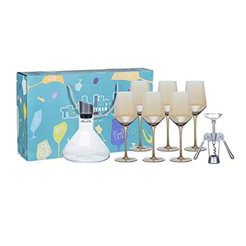 Copas de vino Juego Cristal Relación Exquisita 430ml × 6, Juego Opcional De 4 Colores, Un Hermoso Regalo (Color : Amber, Size : See Size Chart)