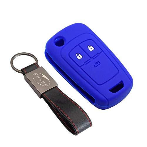 Funda Silicona para Chevrolet Opel – Carcasa Llaveros 2 Botones para Coche Vectra Astra Tigra Corsa Mokka Aveo Cruzer Spark Captive Cover Case Protección Remoto Mando Auto (Azul)