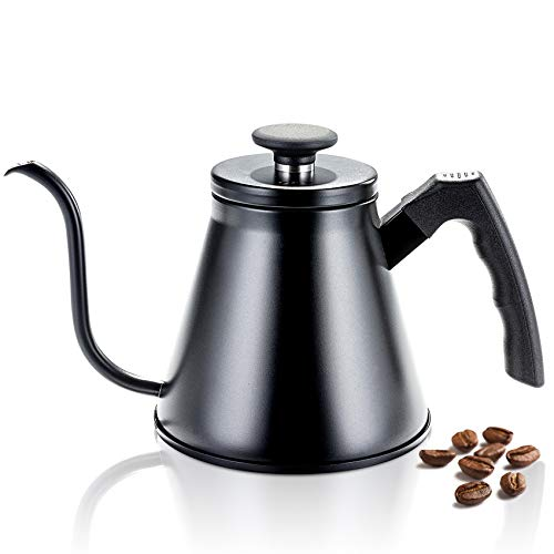 Stovetop Stainless Steel Coffee Kettle 1.2L/40oz, Gooseneck Pour Over Coffee Kettle for Tea and Coffee, Black