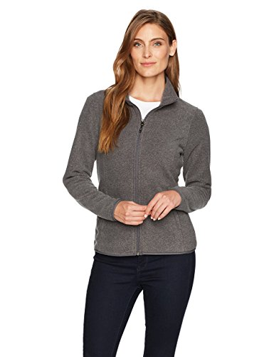 Amazon Essentials Womens Full-Zip Polar Fleece Jacket, Grey Charcoal Heather, Large