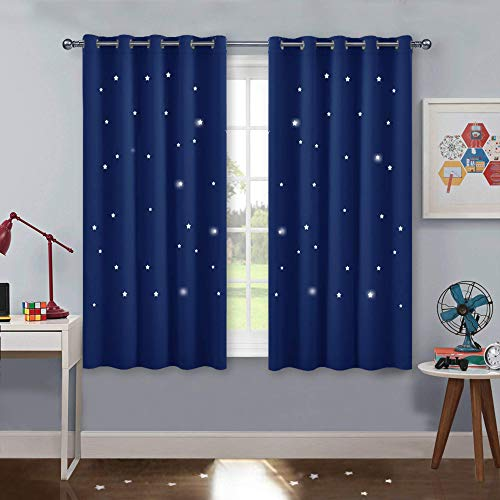 PONY DANCE Vorhang Kinderzimmer Junge - Blaue Gardinen mit Ösen Hohle Sterne Vorhänge für Kinder Schlafzimmer Dekoschals Gardine Ösenschal, 2er Set H 137 x B 167 cm