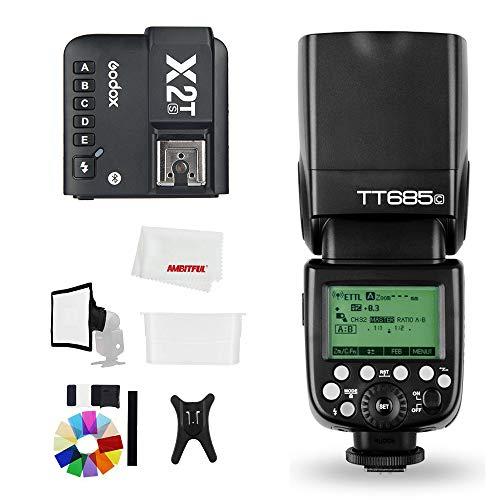 Godox TT685C 2.4G HSS 1/8000S TTL GN60 Flash Speedlite con X2T-C Trigger Kit Trasmettitore, Diffusore Flash 15 * 17 cm Softbox e Flash Filtri Colore Compatibile per Canon Camera
