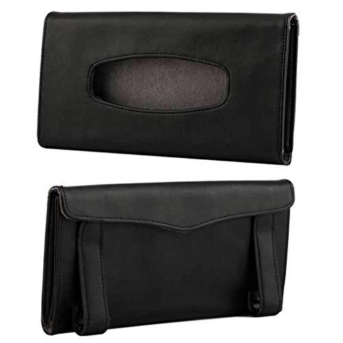 ZYYXB Soporte de piel sintética plegable para coche, organizador de papel para colgar en el hogar, oficina, color negro
