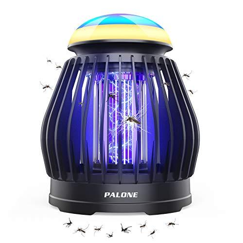 PALONE Lámpara Antimosquitos Eléctrico, LED Mosquito Lámpara Trampa 5W, USB Recargable 3 en 1 ata Mosquitos eléctrico, para Hogar, Cámping