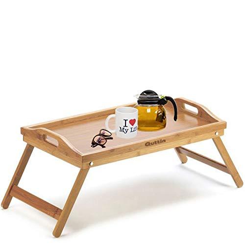 Guttin - Mesa de Bambú con Asa Plegable 50 x 30 x 22 cm,Bandeja de Servir y Bandeja de Cama. 2 en 1, Bandeja auxilia para Multiusos, Mesa Desayuno, Bandeja Cama Desayuno