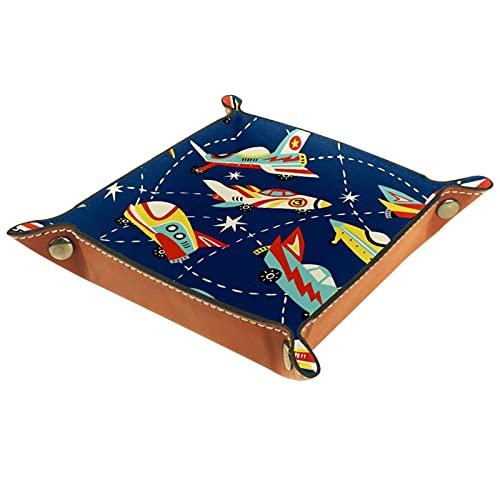 KAMEARI Bandeja de cuero con diseño de aviones de dibujos animados, aviones, llaves, monedas, teléfonos celulares y equipos de oficina