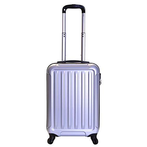 Slimbridge Hard Shell Cabin Carry-on Hand Luggage Suitcase Bag 55 cm 2.8 kg 35 litres with 4 Wheels and Number Lock, Lydd (55 cm, Silver)