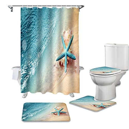 KUKUALE 4 STÜCKE/Set Sea Beach Fisch Muscheln Duschvorhang Wasserdichter Badezimmervorhang Toilettenbezug Matte rutschfeste Teppich Set Badewanne Dekor180X180CM180x180cm(71x71Zoll)