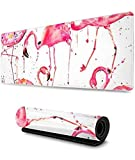 90x40cmx0.3cm-Gaming Mouse Pad Flamingos Splashing Ink Art Extended Large Mouse Mat Durable Nonlip Rubber Base Water-Resistant Mousepad Animal Motif Mouse Pad Scenery Mouse Pad Nonlip Mouse Pad DDD