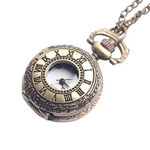 Brass Vintage Style Roman Numerical Pocket Watch Necklace