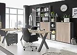 Büromöbel Mister Office in Graphit und Eiche Sägerau 6 teiliges Megaset mit Eckschreibtisch und Rollcontainer, einem hohen Regalschrank, Einer Kommode und Regalen