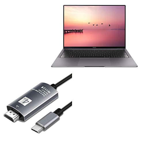Cabo BoxWave para Huawei MateBook X Pro [cabo SmartDisplay - USB tipo C para HDMI (1,8 m)] Cabo USB C/HDMI para Huawei MateBook X Pro - Preto