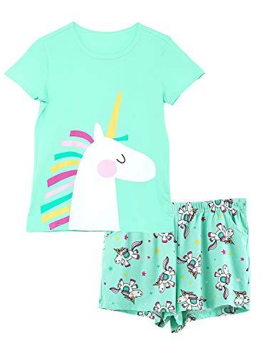 Girls Unicorn Pajamas - 100% Cotton Short Sleeve Tee & Shorts Summer Jammies Set Sleepwear Size 14