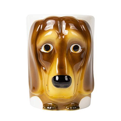 el & groove Taza de Perro Salchicha 3D de Color marrón Claro, Taza de té de 350 ml (con Borde de 400 ml) de Porcelana, Taza de café, Taza para Perro, Galgo, Taza de decoración, Idea para Regalo