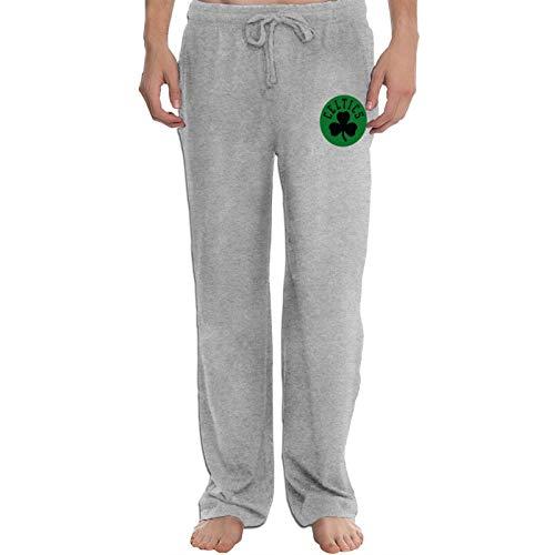 Etdai Men's Pants Straight Leg Loose Sweatpants Boston Basketball Fans Celtic Yoga Pants Casual Athletic Pants Gray