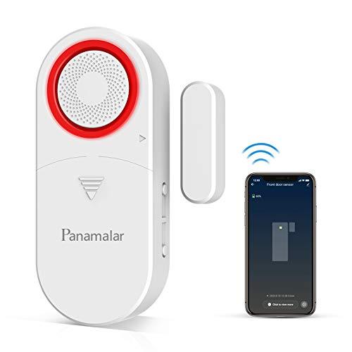 PANAMALAR WiFi Sensor de Alarma para Puertas y Ventanas,110dB Alarma Sonora, Detección Inteligente de Puerta Abierta o Cerrada, Enviar Alerta al Teléfono, Funciona con Alexa Google Home