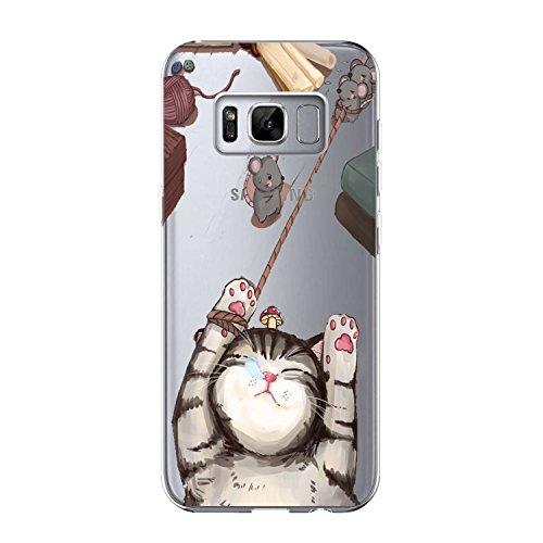 Samsung Galaxy S8 Case, Alsoar® Sottile e Leggera Silicone Trasparente Anti Scivolo Graffi Morbido TPU Design Creativo Cover per Samsung Galaxy S8 (Gatti e Topi)