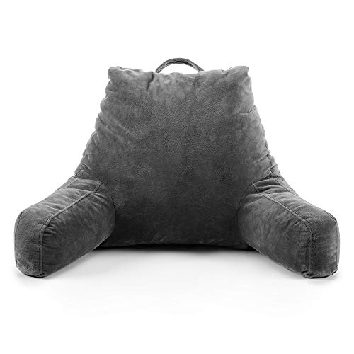 Red Nomad Reading Pillow Shredded Foam - Comfy Soothing Back-Rest Support with Arms for Bed, Study, Lounge, Gaming and Watching TV - 18 inch Grey