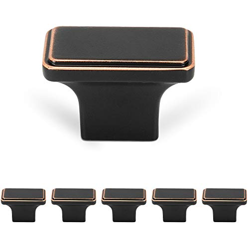 WELLOCKS Cabinet Knob 6 Pack Black, Heavy Duty Solid Rectangle Drawer Pulls, Cabinet Hardware for Office and Home Kitchen, Bathroom Cabinet, Dresser and Cupboard DIY(D123)