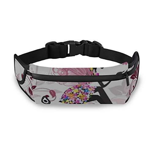 ZANSENG Unisex Running Belt Taillenpackung, Flower Fairy Butterflies Einstellbare wasserfeste Runners Belt Gürteltasche für Wanderfitness, Running Pack