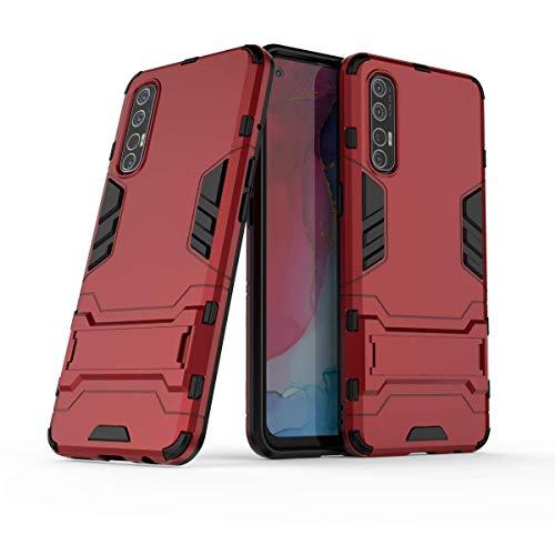 Wuzixi Funda para OPPO Find X2 Neo. Anti-Arañazos Cubierta Protectora, Carcasa Viene con Una Soporte Plegable, 2 en 1 Híbrida Robusto Case, Cover para OPPO Find X2 Neo.Rojo
