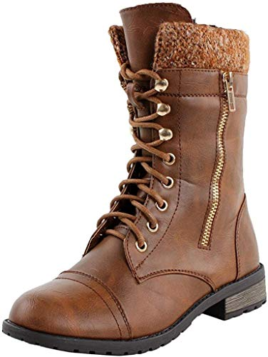 Forever Link Womens Mango-31 Round Toe Military Lace Up Knit Ankle Cuff Low Heel Combat Boots PTAN 7