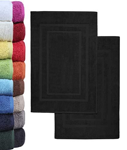 NatureMark 2er Pack Badvorleger Badematte | Premium Qualität | 100% Baumwolle | 50 x 80 cm | Duschvorleger Duschmatte Doppelpack | Farbe: Schwarz