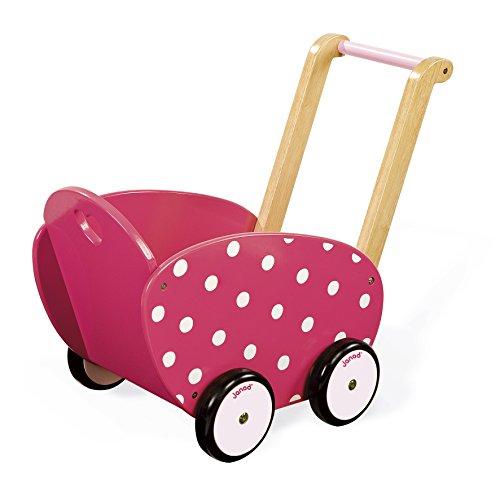 Janod poppenwagen van hout roze Framboisine' roze