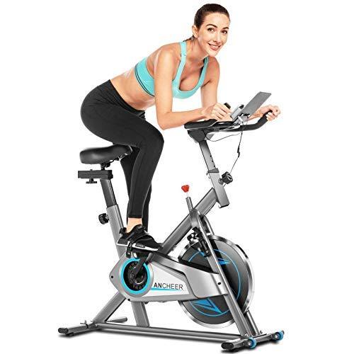 ANCHEER Bici da Spinning Cyclette con Volantino di Inerzia 10 kg Display LCD, Sensore di Impuls,...