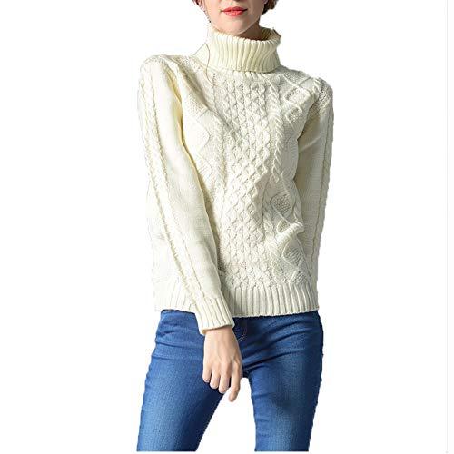 TINERS Womens coltrui lange mouwen gebreide trui dikke warme trui voor de herfst en winter, wit, S