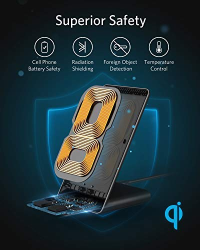 Anker Wireless Charger, PowerWave Stand, Qi-Certified for iPhone 11, 11 Pro, 11 Pro Max, XR, Xs Max, XS, X, 8, 8 Plus, 10W Fast-Charging Galaxy S10 S9 S8, Note 10 Note 9 and More (No AC Adapter) 2 The Anker Advantage: Join the 50+ million powered by our leading technology. A Galaxy of Speed: A high-efficiency chipset provides 10W high-speed charging for Samsung Galaxy. iPhones get a boosted 5W charge at 10% faster than other wireless chargers. Flip It: Charge in landscape orientation while watching videos, or portrait mode for messaging and facial recognition.
