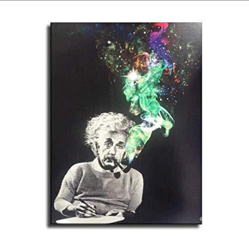 Lienzo de impresión 40x60cm sin marco Póster de personalidad de Einstein, póster artístico de lienzo y cuadro artístico de pared impreso, carteles de decoración de dormitorio familiar moderno