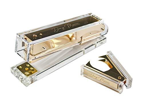 Dany Marcus Set Heftgerät + Heftklammerentferner, transparentes Acryl mit Metall in Gold, Tacker für Heftklammern 24/6, heftet 25 Blatt