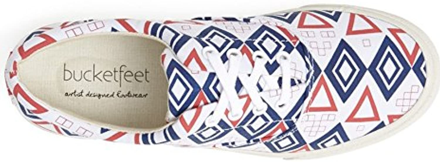 Bucketfeet Nautical Canvas Lace-Up WNS 7 Red White bluee