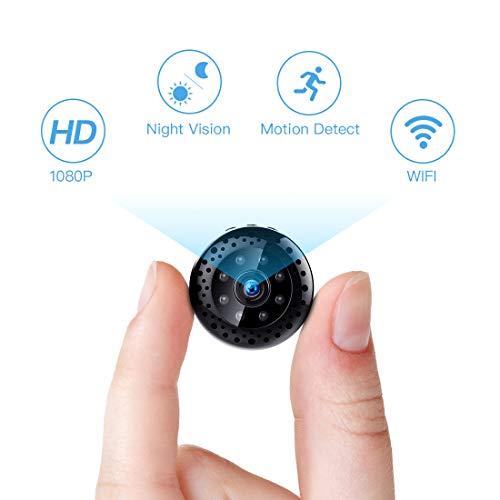 Mini Kamera FREDI WLAN HD 1080P Mini überwachungskamera Nanny Security Kamera mit Bewegungsmelder/Mikrofon/Videoaufzeichnung für iPhone/Android Phone/iPad