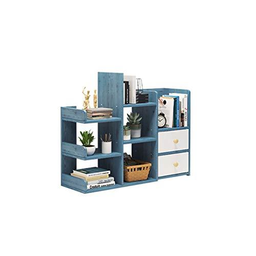 QIAOLI Estantería de escritorio para escritorio, estantería de oficina, organizador de escritorio, estante de madera con 2 cajones, estantería independiente para oficina, hogar, escalera (color: azul)