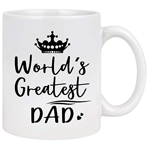 World's Greatest Dad Mug for Dad Funny Dad Coffee Mug from Daughter Son Kids for Fathers Day Birthday Christmas Best Gift for Dad Coffee Mug White 11 Oz