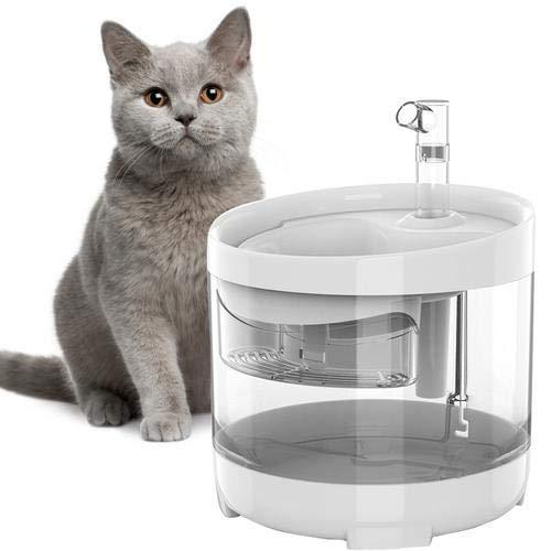 Viugreum Katzen Trinkbrunnen,Neue Upgrade 1.6L Automatisch Transparent Hunde Wasserbrunnen Automatisch Leise Wasserspender Mit 1 Aktivkohlefilter Wasserhahn Katzen Trinkbrunnen FüR Hunde