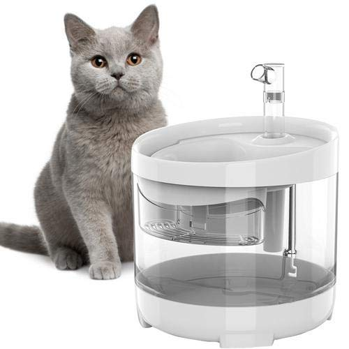 1.5L Fuente para Gatos Transparente Inteligente Automática con Bomba Ultra Silenciosa, con Sistema de Purificación de Tres Capas
