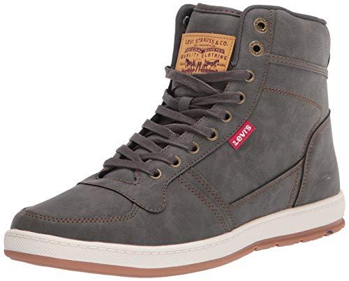 Levi's Mens Stanton Waxed UL NB Fashion Hightop Sneaker Shoe, Charcoal/Tan, 9.5 M