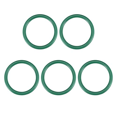 DyniLao Juntas tóricas de caucho flúor, 36 mm OD 29 mm ID 3,5 mm Ancho FKM Junta de sello para plomería de maquinaria, Verde, Paquete de 5